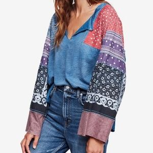 NEW Free People Shibuya Patchwork Tunic Tee Top